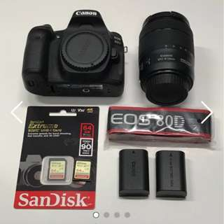 Canon Camera EOS 80D Kit II (EF-S18-135 IS USM) - Nano USM