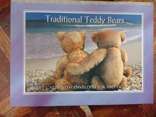Traditional teddy bear greeting cards with envelopes