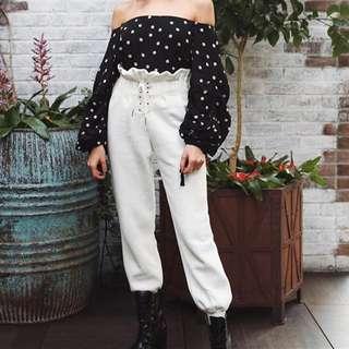 PO // Kimberlyn Lace Up Smocked High Waist Pants // OM098