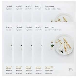 Innisfree My Real Squeeze Mask 20ml - Ginseng 10pcs