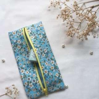 Handmade centered zipper pouch