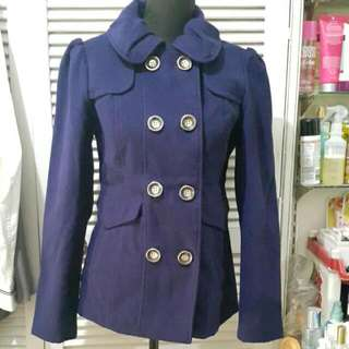 Hydraulic Winter Double Breasted Pea Coat In Indigo