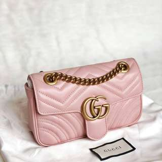 READY Gucci GG Marmont Mini Flap in Light Pink GHW 22cm x 13cm x 6cm
