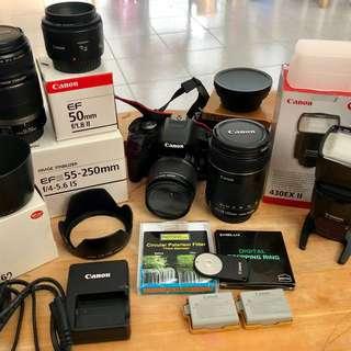 500D Canon dslr/lenses/hoods