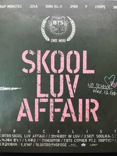 BTS Skool Luv Affair album (opened but in new condition) (no photocard)
