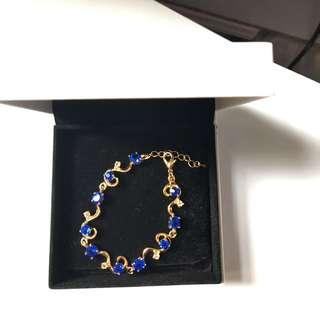 導金藍寶石手鍊婚禮晚宴$38