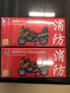 1/43 Tiny BMW Fire Motorcycle HK FSD x 2