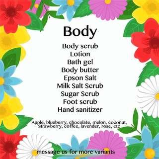 Body Butter, lotion, Scrub, Salt