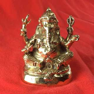 Ganesha Deity Ganesh Amulet Statue Hindu Brass Om Success Worship Shrine Altar