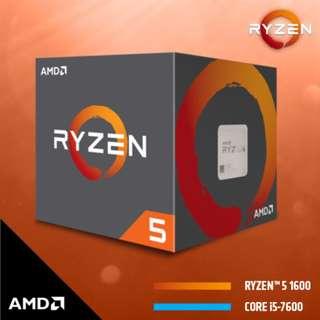 AMD RYZEN 5 1600 Processors (3.6Ghz, 19MB Cache, AM4)
