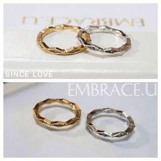菱形環鑲鑽 金/銀兩色 戒圍12 ,菱形鑲鑽 獨特玫瑰金 戒圍10