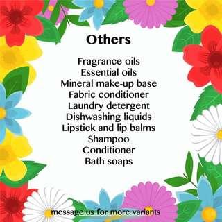 Essential oils, fragrance oils, detergent, shampoo, etc