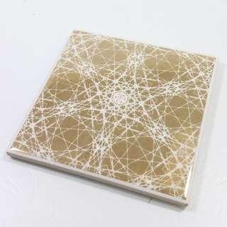 Present Time (Netherlands) 鍍金印花陶瓷杯墊 3 件套裝 Coaster Flower Web ceramic gold Set 3