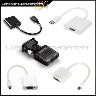 VGA Type C USB 3.1 HDMI w Audio Mini DP DisplayPort micro HDMI converter adapter Monitor Projector Video