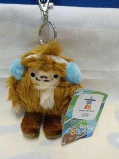 絕版全新 2010 年溫哥華冬季奧運會吉祥物 QUATCHI 毛公仔吊飾 1 件
