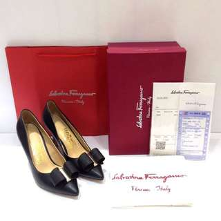 READY SALVATORE FERRAGAMO HEELS RIBBON MIRROR 1:1 AUTHENTIC
