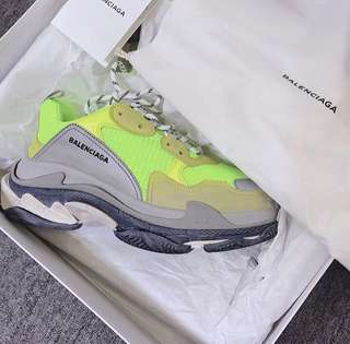 BALENCIAGA TRIPLE S NEON YELLOW (100% AUTHENTIC)