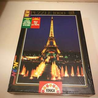 Jigsaw puzzle glowing Eiffel Tower valentine vday special