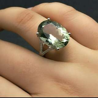 Green Amethyst Oval Gemstone 925 Sterling Silver Ring For Woman