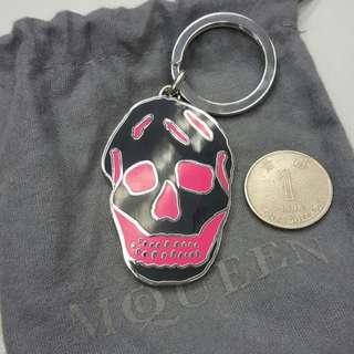 Alexander McQueen black pink skull keychain 鎖匙扣