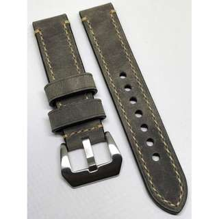 20mm Watch Strap Grey Colour Genuine Leather With Beige Stitching