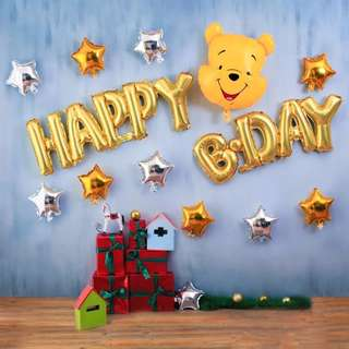(Ready Stock) Winnie The Pooh Happy Bday Balloon Set Party Deco Set
