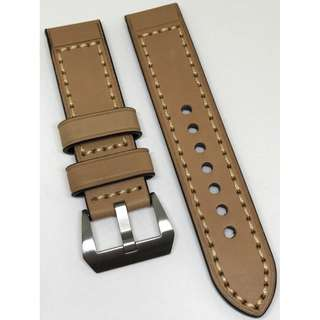 22mm Watch Strap Tan Colour Genuine Leather With Beige Stitching