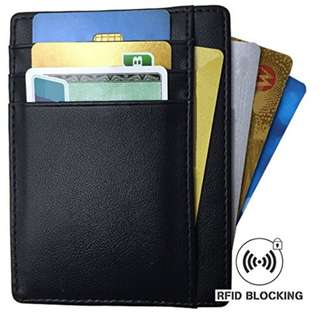 Minimalist Slim RFID Blocking Front Pocket Card Wallet Black for Men