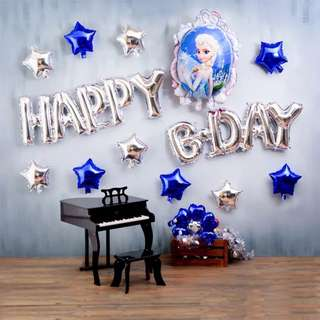 (Ready Stock) Frozen Elsa Happy Bday Decoration Balloon Set Birthday Party Deco Set