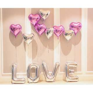 (Ready Stock) LOVE Pink & Silver Surprise LOVE Decoration Balloon Set