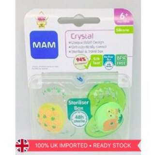 MAM Crystal 6m+ silicone soothers (pineapple+elephant)