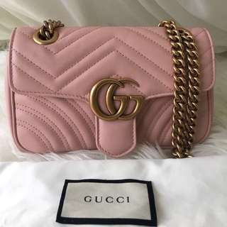 NEW Gucci GG Marmont Light Pink GHW Small 22cm