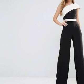 Vesper Black n White One Shoulder Jumpsuit Size 8 ASOS
