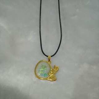 Rabbit with shinny egg necklace