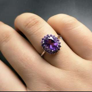 Amethyst Natural Gemstone 925 Sterling Silver Ring For Ladies