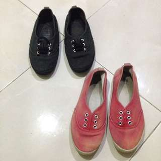 H&M red and black flat