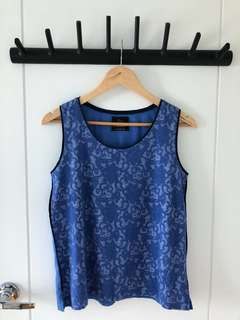 Plains and Prints Blue Floral Sleeveless