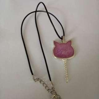 Purple pink cat necklace
