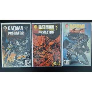 Batman vs. Predator (1991 1st Series) Set of 3 Complete Mini Series News-stand Edition