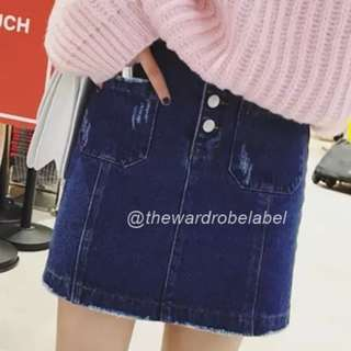 SALE Three Button Denim Skirt