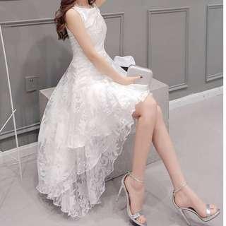 FD0013#甜美蓬鬆燕尾連身裙#謝師宴