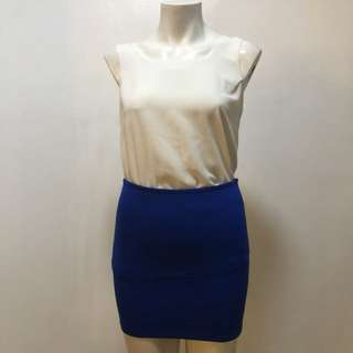 Blue stretch mini skirt