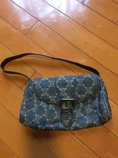 Celine牛仔布手袋 shoulder bag 金屬扣