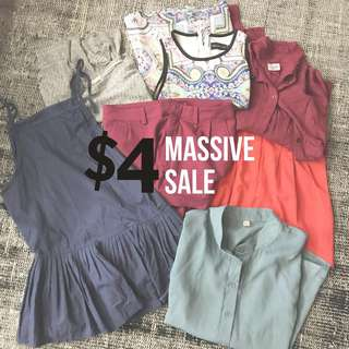 [$4 ONLY] ASSORTED TOPS / DRESS / SHORTS   VARIOUS BRANDS   SIZE S / M
