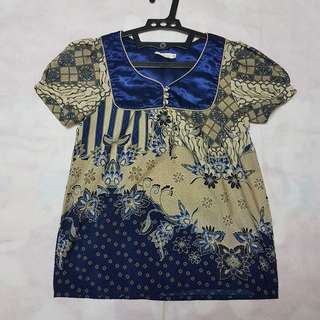 Mine Blue Batik Blouse