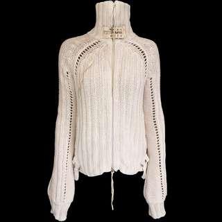 義大利精品Patrizia Pepe米色特殊設計針織長袖外套 義大利製
