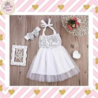< Instock > Baby Party Dress + Headband