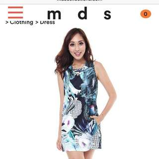 Mds green abs lace up shift dress
