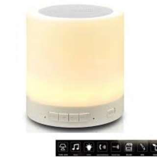 Wireless Bluetooth Speaker with Touch Smart Music LED Lamp (White)
