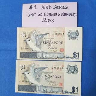 $1 BIRD SERIES.   2 PCS UNC & RUNNING NUMBERS.